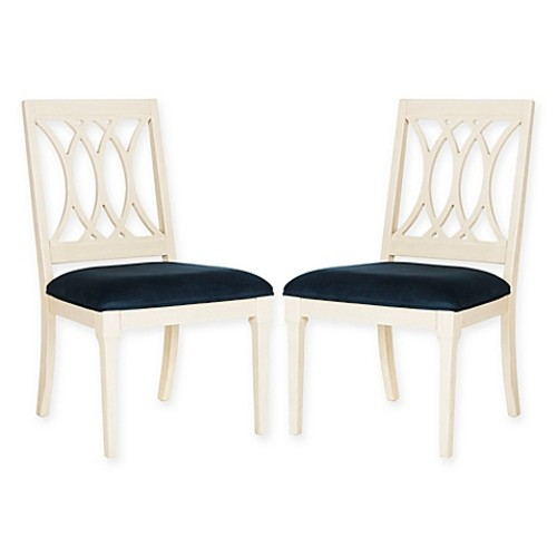 Safavieh Selena Velvet Side Chairs in Navy (Set of 2)