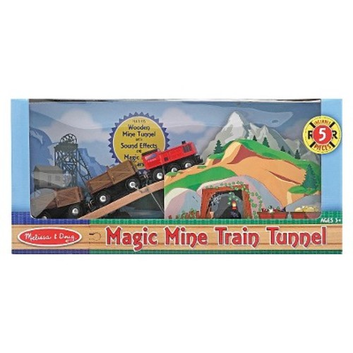 Melissa & Doug Magic Mine Train Tunnel Wooden Train Accessory Set With Sound Effects (5pc)