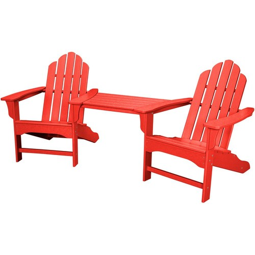 Hanover Rio Sunset Red 3-Piece All-Weather Plastic Patio Lounge Adirondack Chair Set