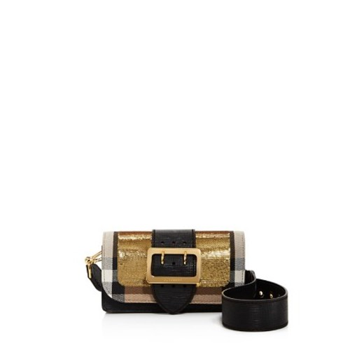 BURBERRY Small House Check Sequin Bridle Shoulder Bag