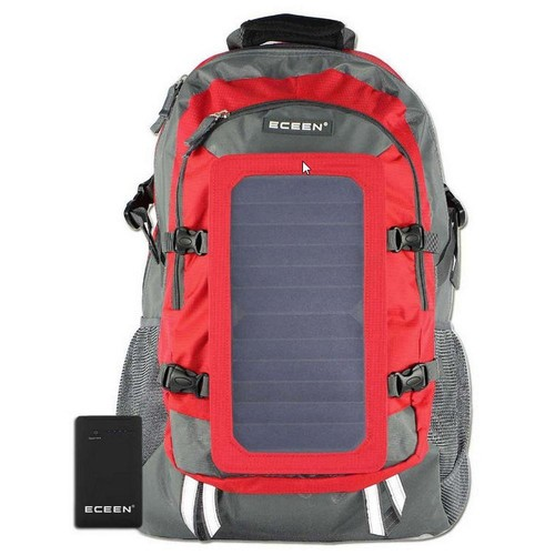 SolarGoPack Solar Backpack, 10k mAh battery, 7-Watt Solar Panel in Red