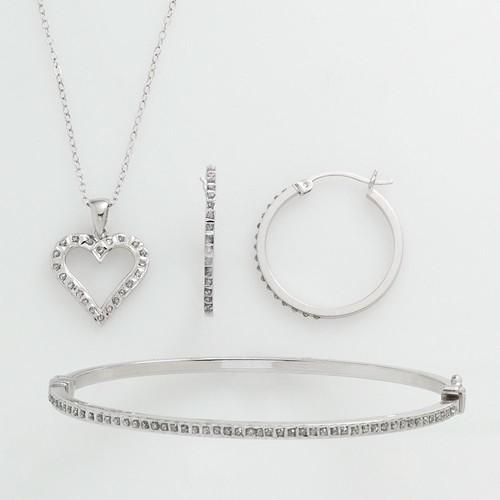 Diamond Mystique Platinum Over Silver Diamond Accent 3-pc. Pendant, Earring & Bracelet Set