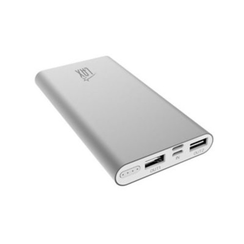 LAX Gadgets Dual USB Power Bank 10,000mAh Portable Battery, Grey