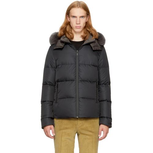FENDI Reversible Navy & Grey Down 'Bag Bugs' Jacket