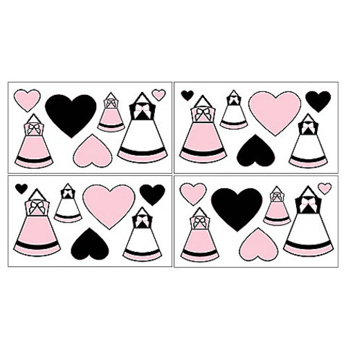 Sweet Jojo Designs Princess Wall Decals in Black/White/Pink