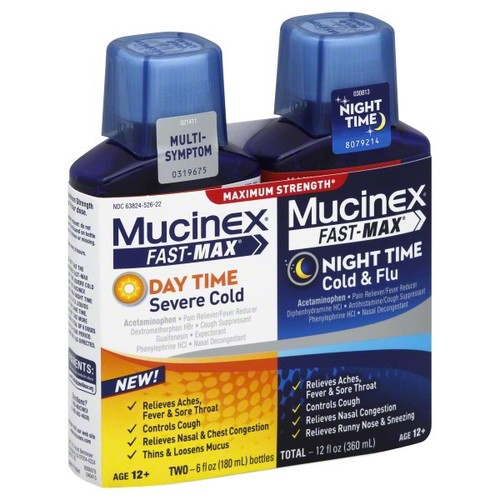 Mucinex Fast-Max Severe Cold/Cold & Flu, Day Time/Night Time, Maximum Strength, 2 - 6 fl oz (180 ml) bottles 12 fl oz (360 ml)