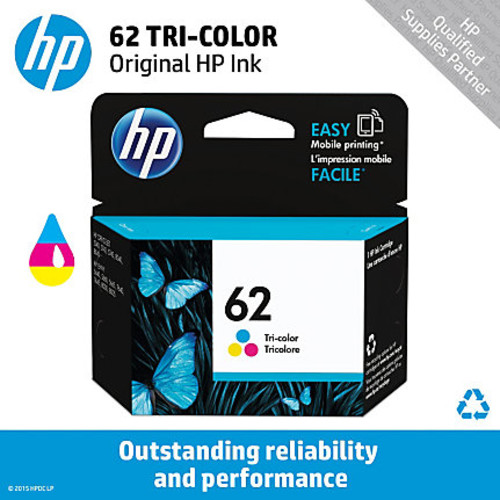 HP 62 Original Ink Cartridge - Cyan, Magenta, Yellow - Inkjet - 165 Pages - 1 Each