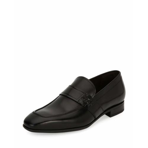 SALVATORE FERRAGAMO Django Gancini-Embossed Leather Loafer, Black (Nero)