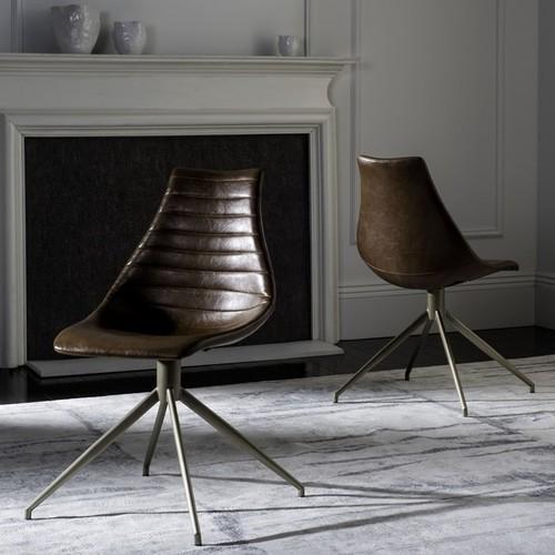 Safavieh Lynette Mid-Century Modern Leather Swivel Light Brown/ Brass Dining Chair (Set of 2)