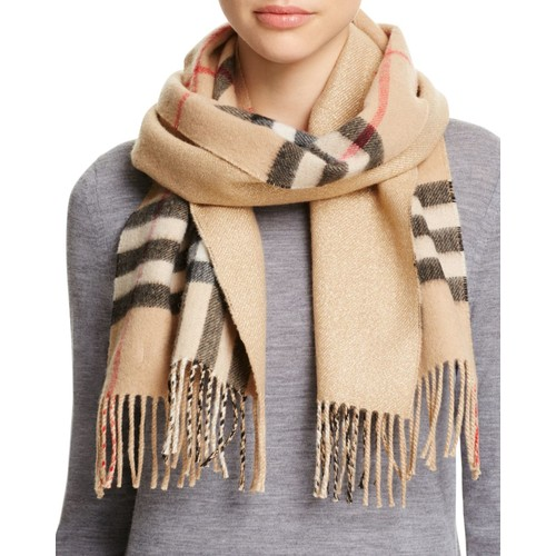 BURBERRY Reversible Metallic Check Scarf