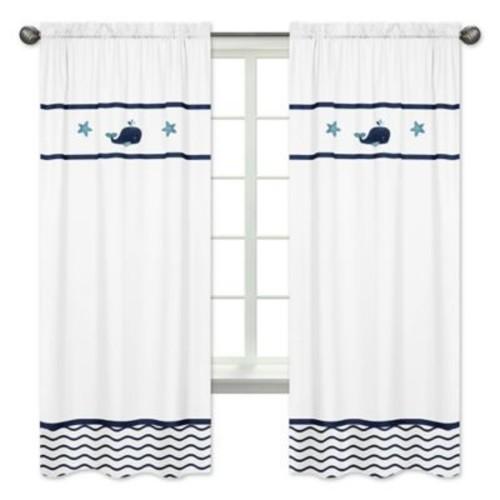 Sweet Jojo Designs Whale 84-Inch Window Panels in White/Blue (Set of 2)
