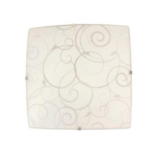 Simple Designs Scroll Swirl Design 1-Light White Ceiling Square Flushmount