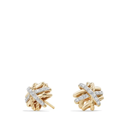 Crossover Earrings with Diamonds in 18K G