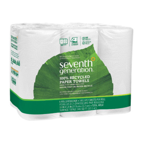 Seventh Generation Paper Towels, 2-ply, 140 sheets/roll, 6 roll/pack