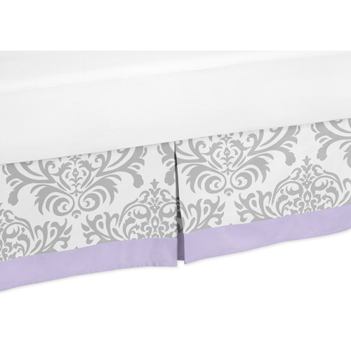 Sweet Jojo Designs Lavender and Gray Elizabeth Collection Toddler Bed Skirt
