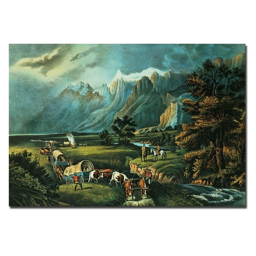 Trademark Fine Art 22 in. x 32 in. Emmigrants Crossing the Plains Canvas Art
