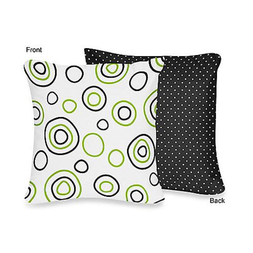 Sweet Jojo Designs Spirodot Decorative Pillow in Lime/Black