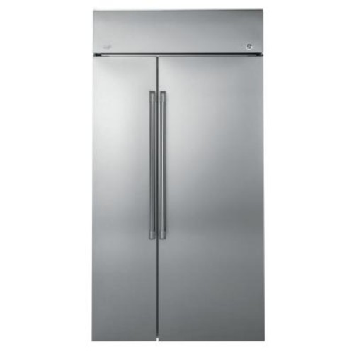 GE 48 in W 25.2 cu. ft. Built-In Side by Side Refrigerator in Stainless Steel