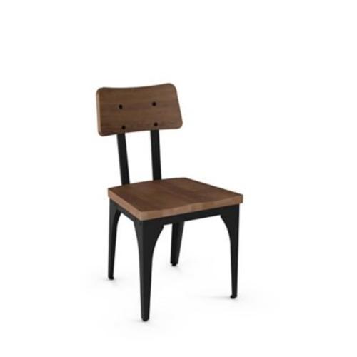 Gracie Oaks Ellenton Solid Wood Dining Chair (Set of 2); Textured Black Metal/Medium Brown Wood