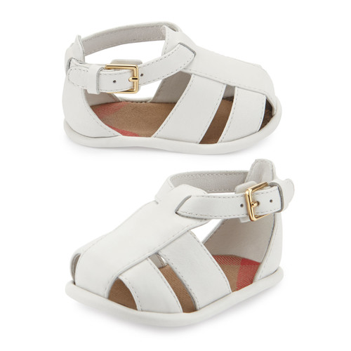 BURBERRY N1-Ruislip Newborn Leather Strappy Sandal, Optic White