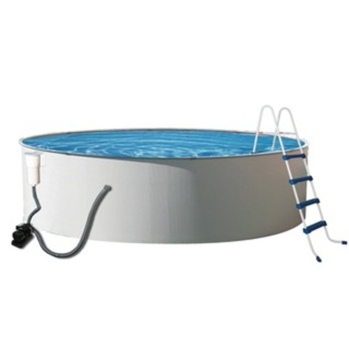 Blue Wave Round Rugged Steel Swimming Pool Package [option : 12']