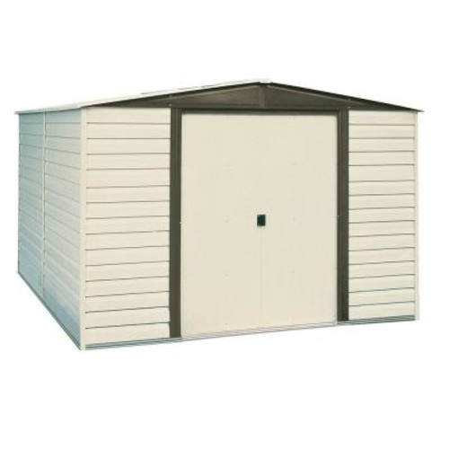 Arrow Dallas 10 ft. x 6 ft. Vinyl-Coated Steel Storage Shed with Floor Kit