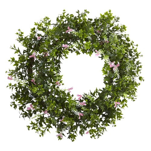 Nearly Natural 18 in. Mini Ivy & Floral Double Ring Wreath with Twig Base