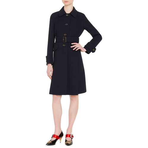 PRADA Button-Front Wool Coat, Blue
