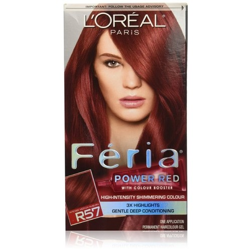 L'Oreal Feria Power Shades Hair Color, Intense Medium Auburn/Cherry Crush, 12oz