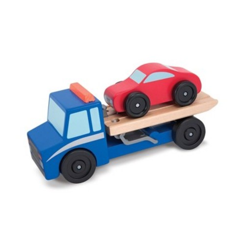 Melissa & Doug Flatbed Tow Truck Wooden Vehicle Set