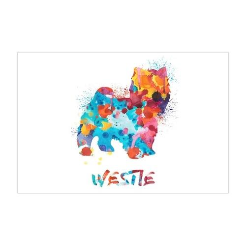 Westie - Dog and Cat Watercolor Splatter Art - 36x24 Matte Poster Print