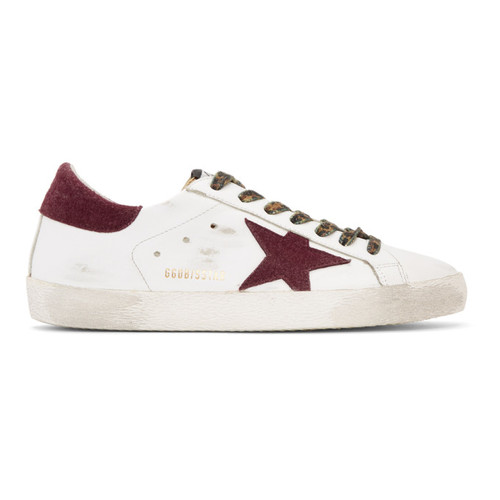 GOLDEN GOOSE White & Gold Superstar Sneakers