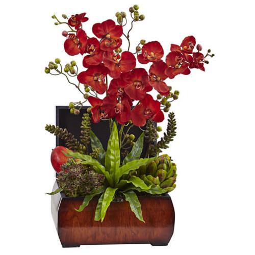 Nearly Natural Autumn Orchid & Succulent Arrangement w/Chest