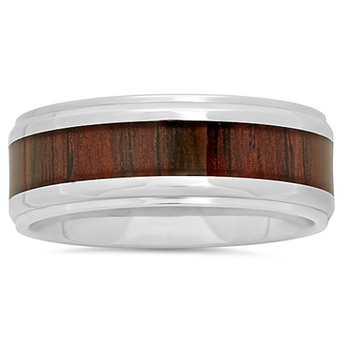 Stainless Steel Wood Grain Carbon Fiber Inlay Size 7 Men's Wedding Band
