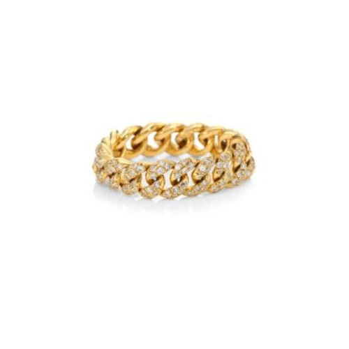 Essentials Pave Diamond & 18K Yellow Gold Link Ring