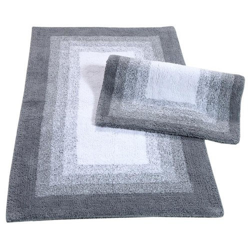 Chesapeake Merchandising Whitney Ombre Reversible Hi Rise Grey 21 in. x 34 in. 2-Piece Bath Rug Set