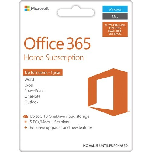Office 365 Home, 1-year subscription, 5 PCs/Macs (Product Key Card) - Android|Mac|Windows|iOS