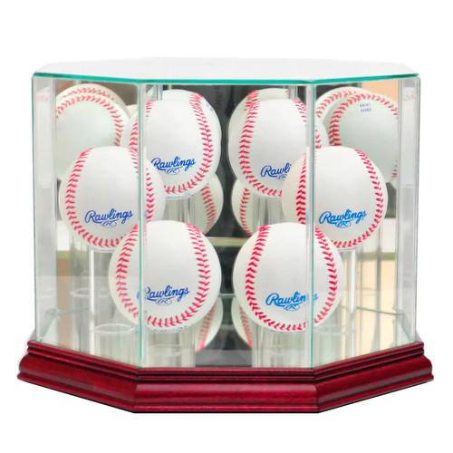 Perfect Cases 6-Baseball Octagonal Display Case - Cherry Finish