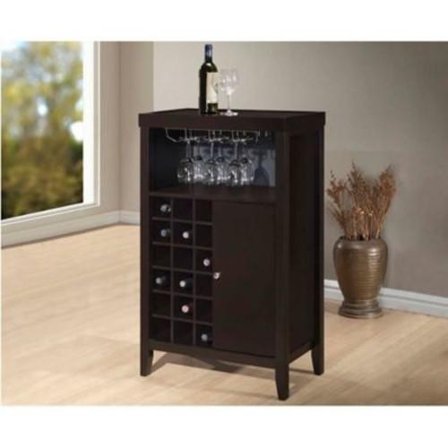 Baxton Studio Bernard Bar Cabinet in Dark Brown