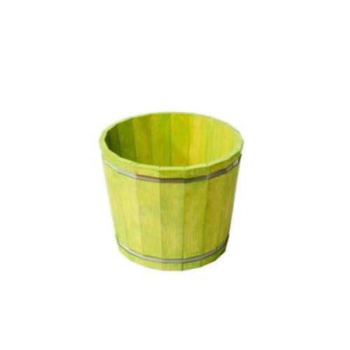 KD Barrel in a Box Wood Planter in Green
