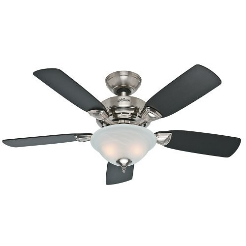 Hunter Fan Company 52081 Caraway 44-Inch Brushed Nickel Ceiling Fan with Five Burnt Walnut/Roasted Walnut Blades and a Light Kit