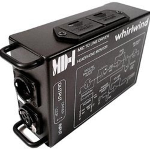 Whirlwind MD-1 Mic to Line Driver with Headphone Monitor, 600Ohms Output Impedance, 6Hz-25kHz Frequency Response, 3-Pin XLR Male Input, 3-Pin XLR Female Output