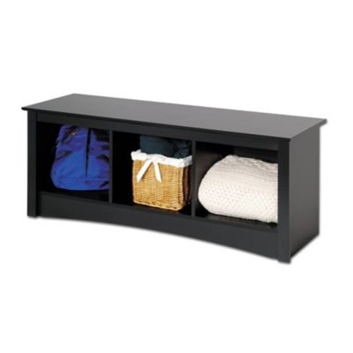 Prepac Composite Wood Cubbie Bench, Black