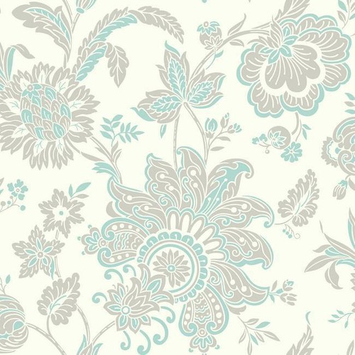 Sample Arabella Wallpaper in Aqua and Beige design by York Wallcoverings
