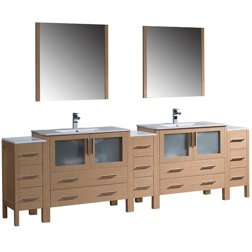 Fresca Torino 108 in. Double Vanity in Light Oak with Ceramic Vanity Top in White with White Basins and Mirrors
