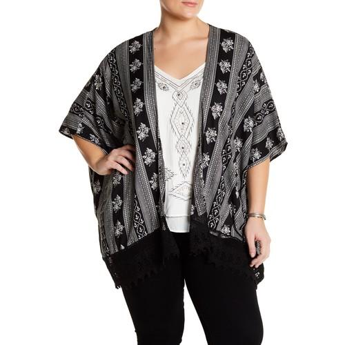 Embroidered Lace Hem Kimono (Plus Size)
