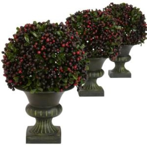 Nearly Natural 8.5 in. H Green Pepper Berry Ball Topiary (Set of 3)