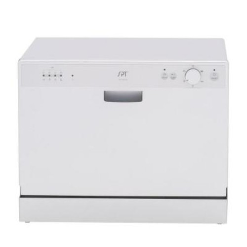 SPT Countertop Dishwasher in Silver with 6 Wash Cycles and Delay Start