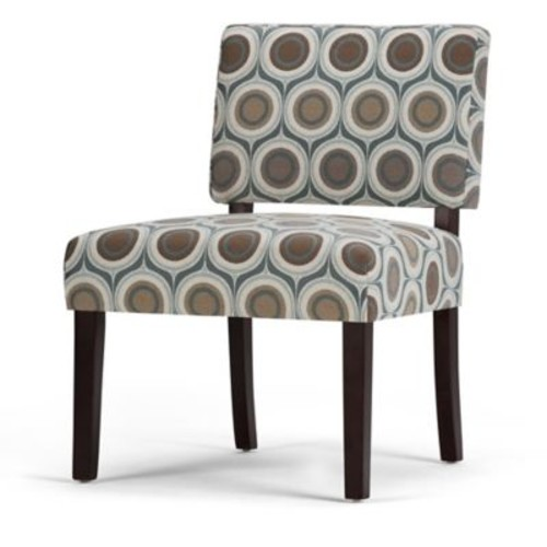 Simpli Home Virginia Accent Chair with Brown and Grey Circle Patterned Fabric
