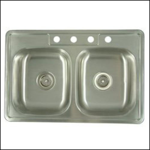 Stainless Steel Self-Rimming Double Bowl Kitchen Sink